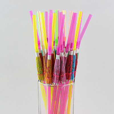 20Pcs Beach Paper Umbrella Decor  Disposable Drinking Straw For Party Wedding