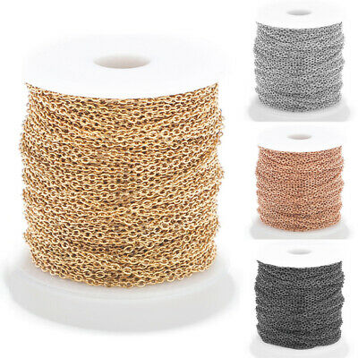 100M Gold/Silver Plated Open Link Iron Metal Cable Chain For Jewelry Making DIY