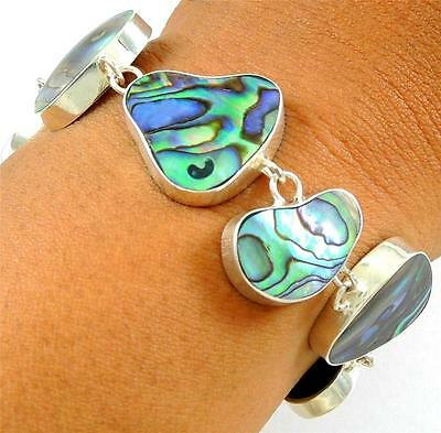Natural Abalone Shell 925 Sterling Silver Chain Bracelet Women Jewelry SA063