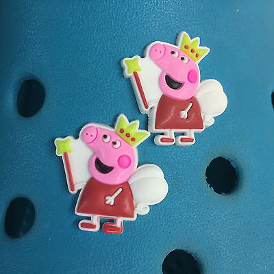 2 Peppa Pig Shoe Charms For Crocs & Jibbitz Wristbands. Free UK P&P.