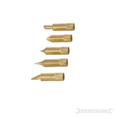 5 interchangeable brass tips - For Woodburning Pen Set Pyrography Tool789005