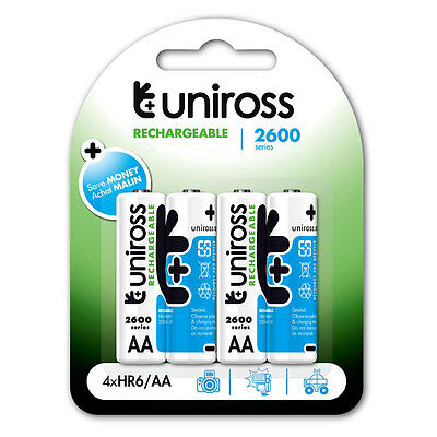 4 Pack Uniross AA HR06 2600mAh NiMH Rechargeable Batteries Premium Series