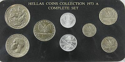 1973 Hellas Complete 8 Coin Collection Cased Drachma Lepta
