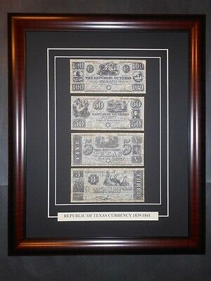 Texas Republic Currency Money 1839 - 1841 Reprint Framed