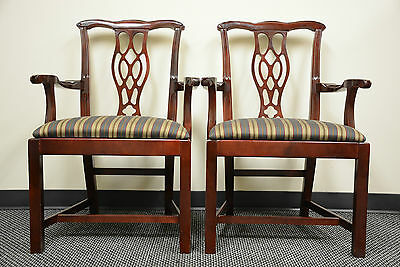 2 Steelcase mahogany Chippendale occasional dining Guest side wood arm chairs