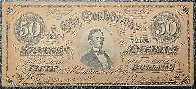 1864 FIFTY  DOLLARS FACSIMILE Confederate States America CSA $50.00 BILL
