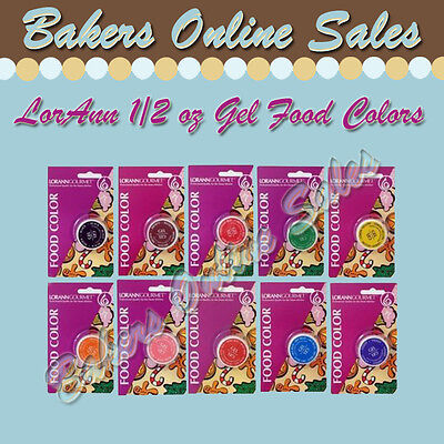 LorAnn 1/2 oz Gel Food Coloring - Baking Candy Frostings All 10 Quality Colors