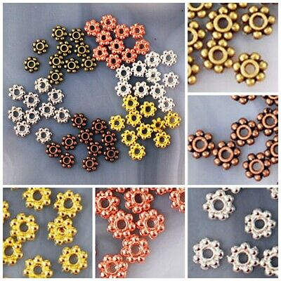 4x1mm Pewter Flower Spacer Beads 200pcs Silver/Gold/Copper/Brass FREE SHIPPING