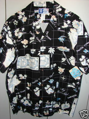 RJC  Large  Classic Map of Hawaii on Black/NWT