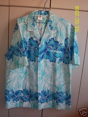 Island Creations Large  Blue Orchid & Palms on Blue/New