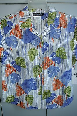 Unique Silk Wms Size 8  Monstera on Blue/NWT