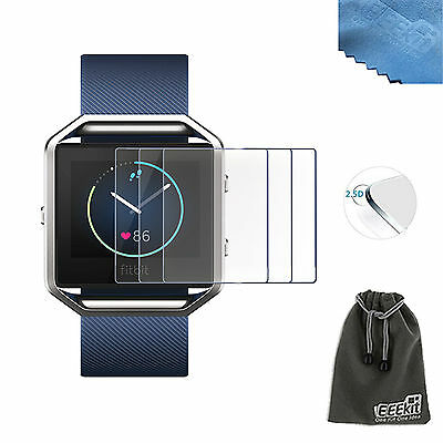 EEEKit 3 Pcs Premium Tempered Glass Screen Protector Film Guard for Fitbit Blaze