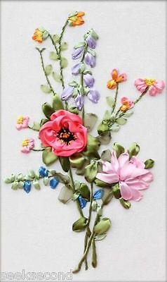 Ribbon Embroidery Kit A Bouquet of Wild Flowers Needlework Craft Kit RE3014