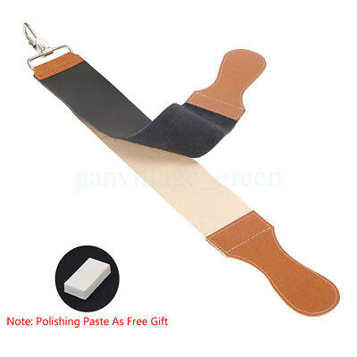 Black Barber Leather Canvas Cut Throat Straight Razors Sharpener Strop Blet