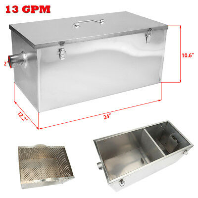 25LB Commercial 13GPM Gallon Per Minute Grease Trap Stainless Steel Interceptor