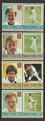 TUVALU Niutao 1985 CRICKETERS Set 8 Values MNH