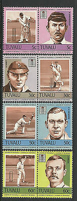 TUVALU 1984 CRICKETERS Set 8 Values MNH