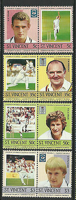 ST.VINCENT 1985 CRICKETERS Set 8 Values MNH