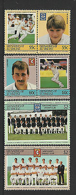 ST.VINCENT Grenadines 1985 CRICKETERS (3rd set) Set 6 Values MNH