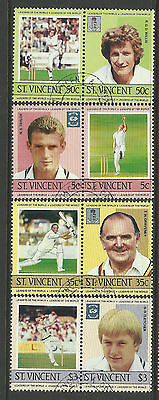 ST.VINCENT 1985 CRICKETERS Set 8 Values FINE USED