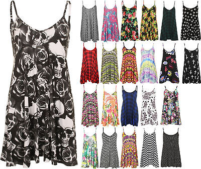 12bde466d494 New Plus Size Womens Strappy Sleeveless Printed Ladies Mini Dress Vest Top  16-26