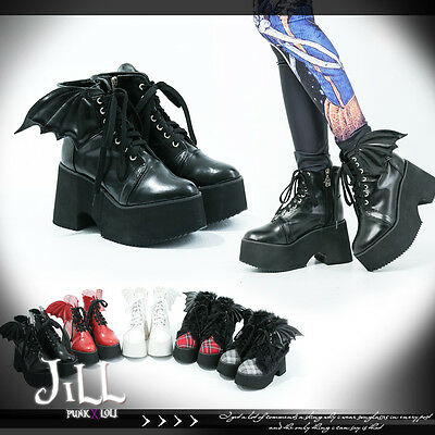 street Punk cosplay succubus mini Demon wings platform ankle boots JAN5221 SB