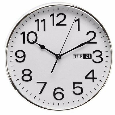 WM Widdop 25cm Wall Clock Silent Sweep Quiet Hand Bold Numbers Day & Date W7810