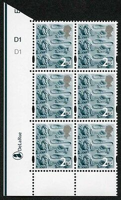 E-DONP2ndC England DLR 2nd Slate Green (normal gum) Cyl D1 No Dot block of 6