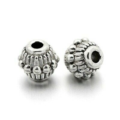 Packet of 30 x Antique Silver Tibetan 6 x 7mm Bicone Spacer Beads HA17160