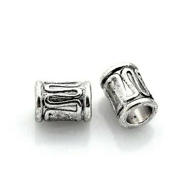 Packet of 30 x Antique Silver Tibetan 6 x 8mm Tube Spacer Beads HA17210