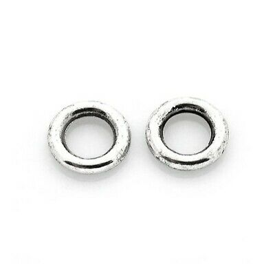 Packet of 50+ Antique Silver Tibetan 8mm Donut Spacer Beads HA17345