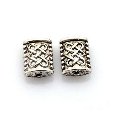 Packet 50+ Antique Silver Tibetan 5 x 7mm Rectangle Spacer Beads HA17450