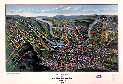 "Bird's Eye View of Cumberland MD 1906 Vintage Map Poster - 11 x 17"" Reprint"