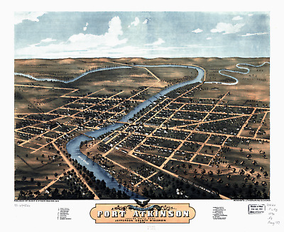 """Bird's Eye View of Fort Atkinson WI 1870 Vintage Map Poster - 8.5"""" x 11"""" Reprint"""