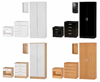 Galaxy Bedroom Furniture Set - 3 Piece Wardrobe, Chest Drawers, Bedside
