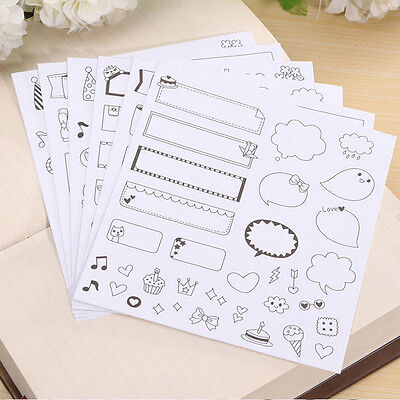 12 Sheets Diary Decor Stickers Decoration Labels Scrapbook Journal Fashion EW