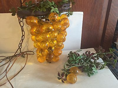 Vintage Glass Grape Cluster Hanging Lamp Light used Parts/repair Amber Color