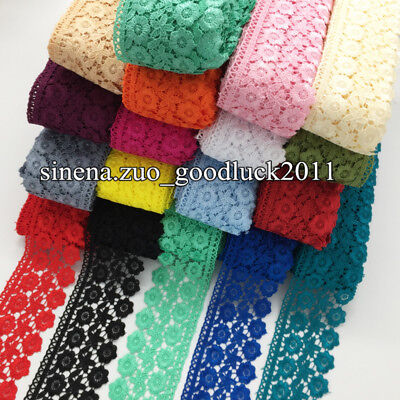 1 Yard Polyester Lace Trim Ribbon Applique Embroidered Sewing Handicrafts FL130