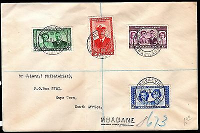 Swaziland1947 Royal Visit Set Fdc On Registered Cover To Cape Town S. Africa