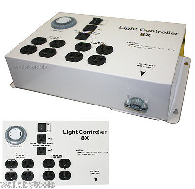8 Outlet HID 24hour Timer Controller hydroponic Light  Electric Box 120/240v
