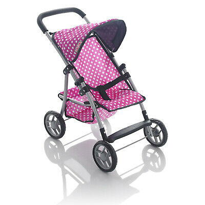 Molly Dolly 56cm My First Dolls Toy Stroller Buggy Girls Pram Pink Polka Dot