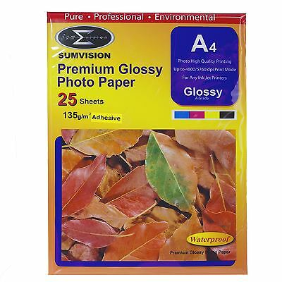25 Sheets Sumvision A4 Self-Adhesive Inkjet Printer Photo Paper Glossy 135gsm