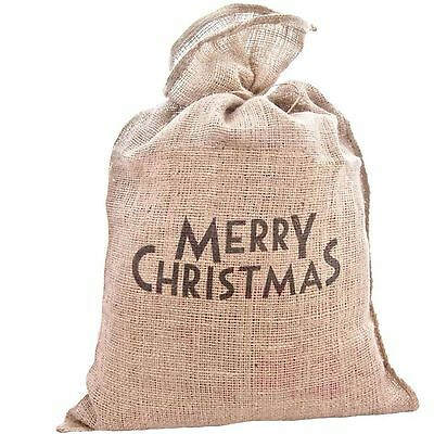 East Of India Merry Christmas Merry Xmas Santa Hessian Vintage Style Sack