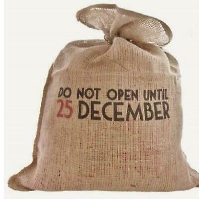 East Of India Do Not Open Until 25th December Santa Hessian Vintage Style Sack