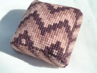 HAND EMBROIDERED PADDED PINCUSHION - PINKS & BURGUNDY - 6 x 6 x 2cms