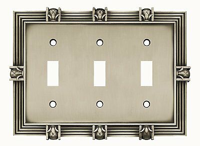 64467 Satin Pewter Pineapple Triple Switch Cover Plate