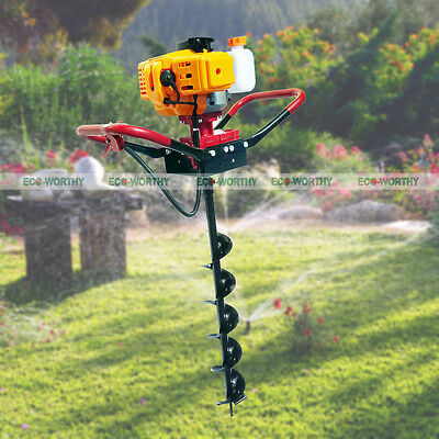 """ECO 2.2 HP Gas Powered Post Hole Digger W/ 4/8/10"""" Drill Bit 49CC Power Engine"""