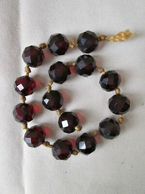 """Vintage Strand of 15 FACETED RED Wine GLASS BEADS, 1/2""""Diam. Rich & Warm!"""