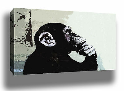 Banksy Thinker Modern Urban Graffiti Street Art High Quality Canvas Print