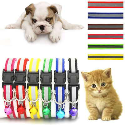 Adjustable Small Dog Cat Bell Collar Buckle Neck Strap Puppy Pet Safety Necklace